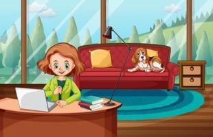 scène met vrouw die op computer thuis werkt vector