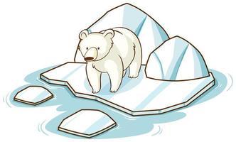 ijsbeer die zich op ijs op witte achtergrond bevindt vector