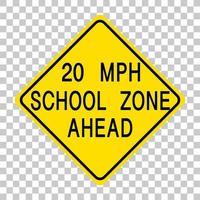 geel verkeerswaarschuwingsbord op transparante achtergrond