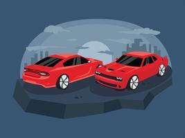 Rode Klassieke Dodge Charger Car Vector Illustration
