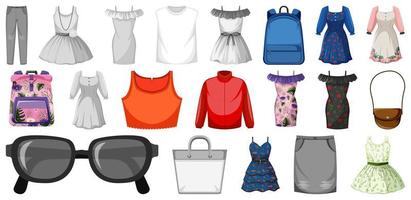 set vrouwelijke outfits en accessoires vector