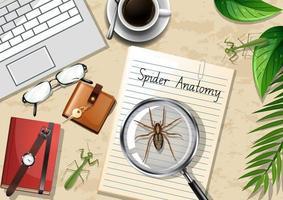 bovenaanzicht van kantoor werktafel met spintekening