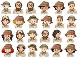 set van verschillende jongen en meisje scouts