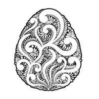 paasei gemaakt van wervelingen en florale elementen