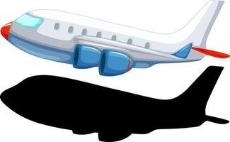 vliegtuig cartoon stijl met zijn silhouet