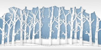 papier gesneden winterseizoen scène met bomen en sneeuw vector