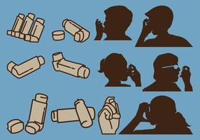 Person Holding Inhaler en geïsoleerde Inhaler
