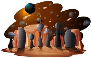 fantasie ruimtescène achtergrond vector