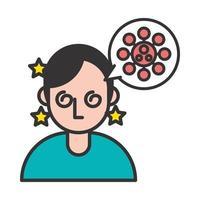 persoon met ziekte covid19 symptoom en sporen in tekstballon