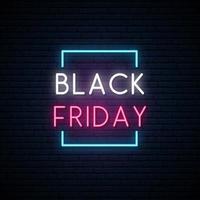 zwarte vrijdag neon uithangbord vector