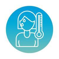 vrouw ziek met koorts met behulp van thermometerblokstijl