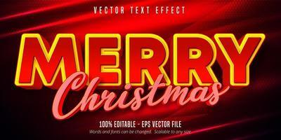 vrolijke kersttekst, bewerkbaar teksteffect in kerststijl vector
