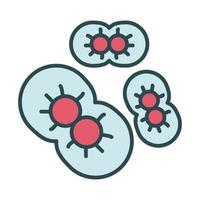 geïnfecteerde cellen met covid19 opvulstijlpictogram