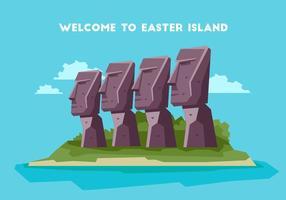 Easter Island Welkom Board Vector Illustration