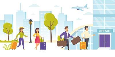 gelukkige mannen en vrouwen met koffers lopen vector