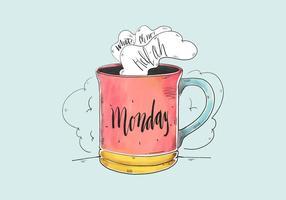Leuke Quote Aquarel maandag Met Koffiekop vector