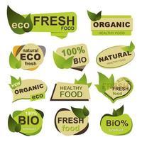biologisch, eco, vers voedsel badges