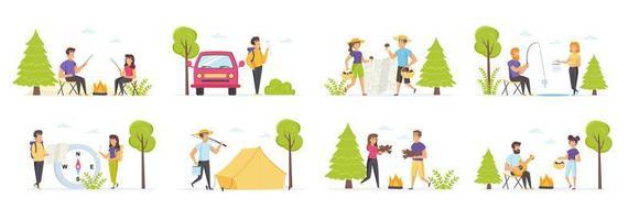 zomercamping met personenpersonages vector