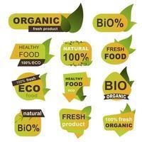 biologisch, eco, vers voedsel badges vector