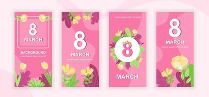 8 maart social media stories design vector