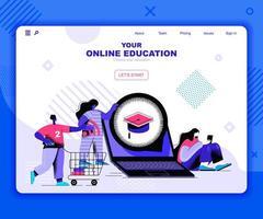 bestemmingspagina sjabloon voor online onderwijs vector