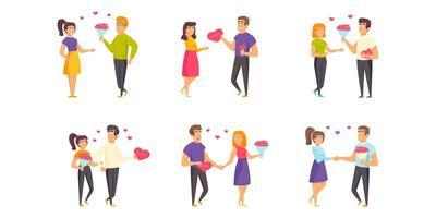 Saint Valentijnsdag platte set vector