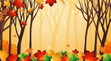 sjabloon met bladeren en bomen scène vector