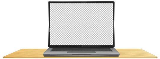 laptop op tafel met leeg scherm cartoon