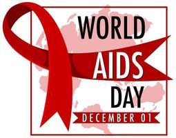wereld aids dag banner met rood lint op kaart