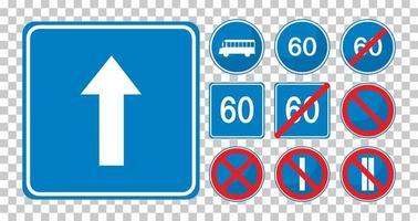 set van blauwe verkeersborden