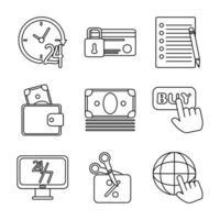 marketing en e-commerce pictogramserie vector