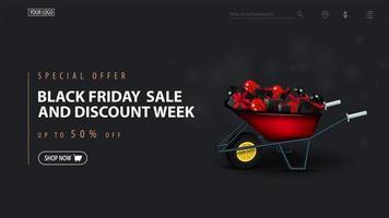 zwarte vrijdagverkoop en kortingsweeksjabloon met kruiwagen vector