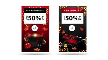 Black Friday-uitverkoop, tot 50 korting op kortingsbanners vector