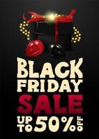 Black Friday-uitverkoop, tot 50 korting op banner met cadeau vector