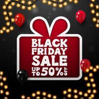 Black Friday-uitverkoop, tot 50 korting op geschenkposter vector