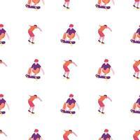 stijlvolle skater in jeans en sneakers naadloos patroon