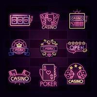 casino neonlichtbord ingesteld vector