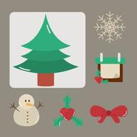 Kerstdecoratie en viering icon set