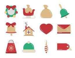 Kerstdecoratie en viering icon set