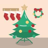 vrolijk kerstfeest, boomkousen en kransdecoratie