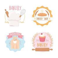 schattige bakkerij badge en logo set