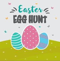Gratis Easter Egg Hunt Card Vector