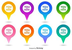 Vector You Are Here Kaart Pointer Icon Set
