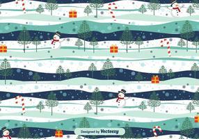 Sneeuw Landschap Kerst Vector Pattern