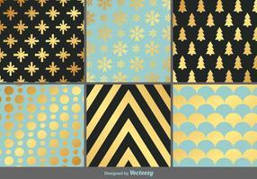 Elegant Gouden Kerst Vector Patterns
