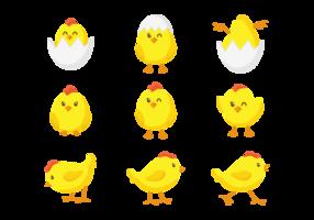 Kuiken van Pasen Cute Icons vector