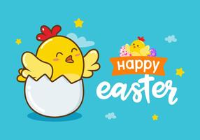 Happy Easter Chick Vector Achtergrond