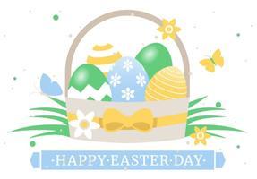 Spring Happy Easter Basket Vector Illustration
