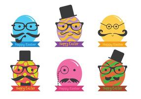 Hipster easter egg vector set