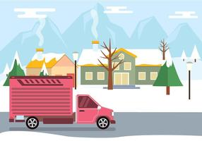 Moving Van In Winter Vector